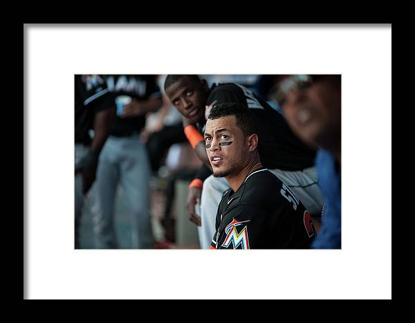 Citizens Bank Park Framed Print featuring the photograph Giancarlo Stanton by Rob Tringali
