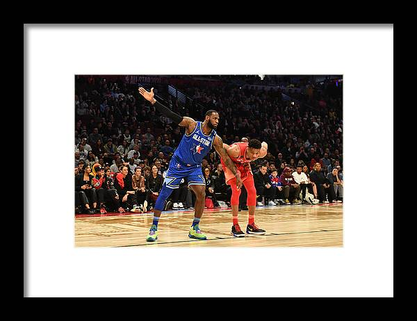 Nba Pro Basketball Framed Print featuring the photograph Giannis Antetokounmpo and Lebron James by Jesse D. Garrabrant