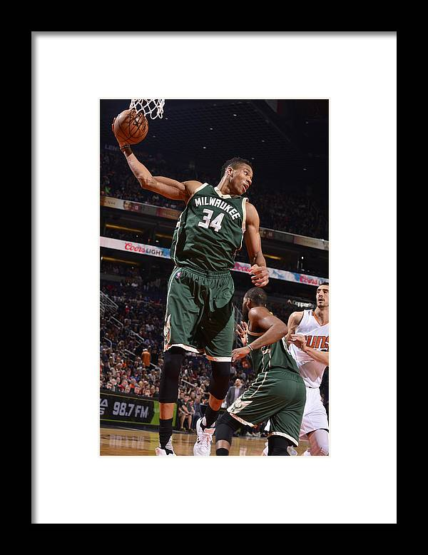 Nba Pro Basketball Framed Print featuring the photograph Giannis Antetokounmpo by Barry Gossage