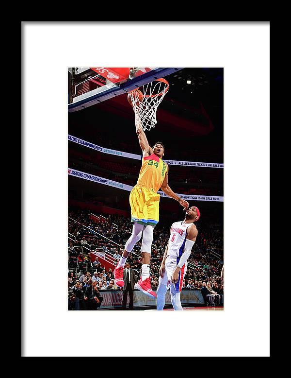 Nba Pro Basketball Framed Print featuring the photograph Giannis Antetokounmpo by Chris Schwegler