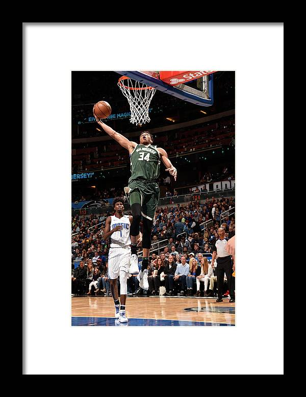 Nba Pro Basketball Framed Print featuring the photograph Giannis Antetokounmpo by Gary Bassing