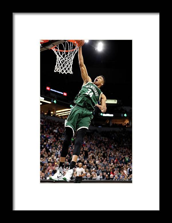 Nba Pro Basketball Framed Print featuring the photograph Giannis Antetokounmpo by Jordan Johnson