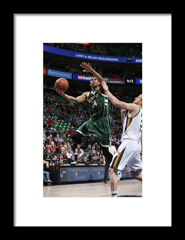 Nba Pro Basketball Framed Print featuring the photograph Giannis Antetokounmpo by Melissa Majchrzak