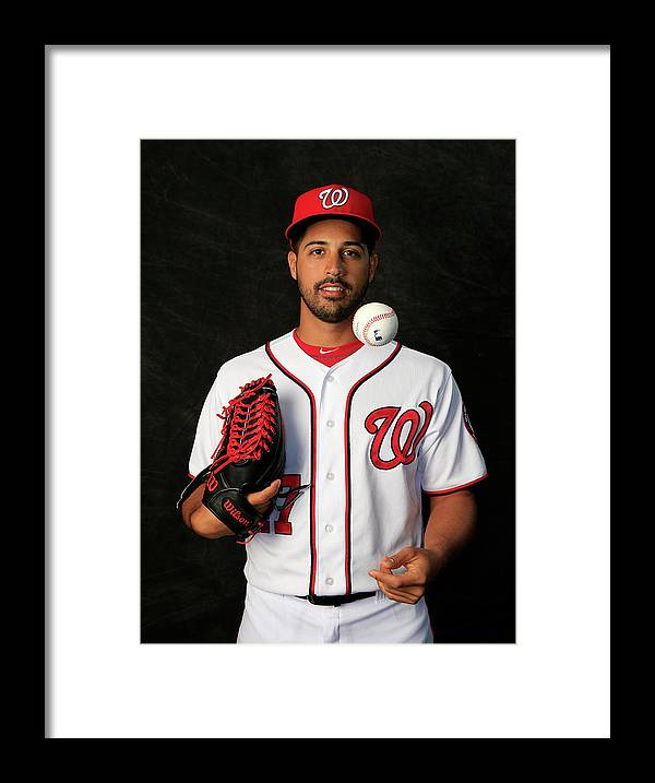 Media Day Framed Print featuring the photograph Gio Gonzalez by Rob Carr