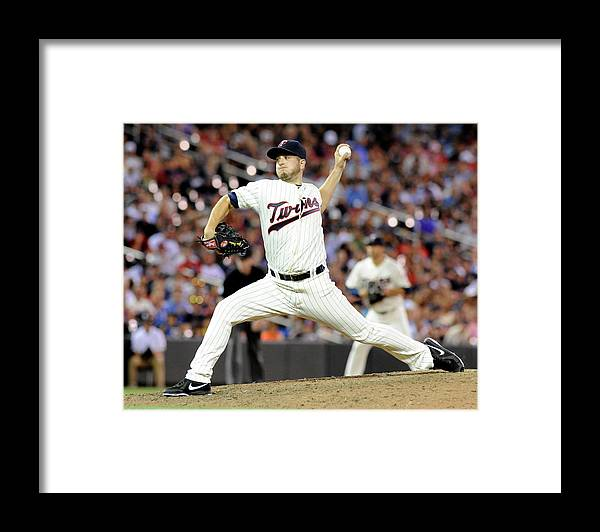 Ninth Inning Framed Print featuring the photograph Glen Perkins by Marilyn Indahl