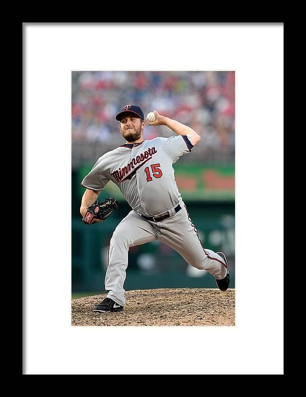 American League Baseball Framed Print featuring the photograph Glen Perkins by Patrick Mcdermott