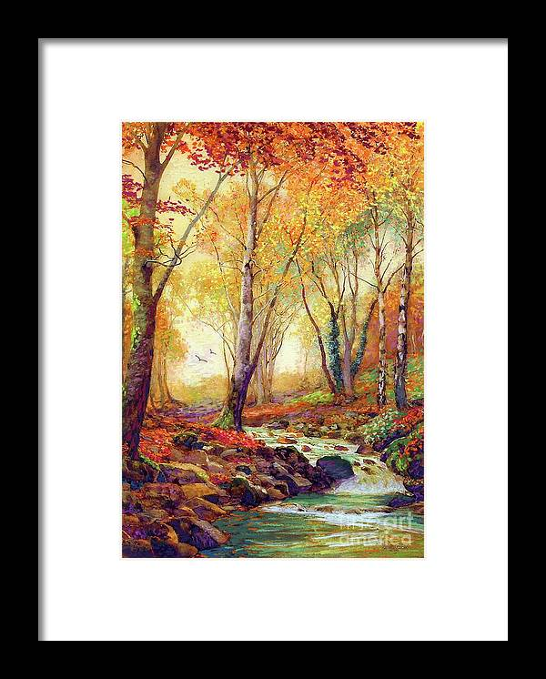 Landscape Framed Print featuring the painting Glint of Gold by Jane Small