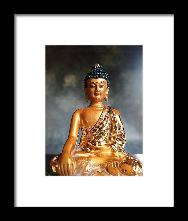 Buddha Framed Print featuring the photograph Golden Healer, The Buddha by Barista Uno