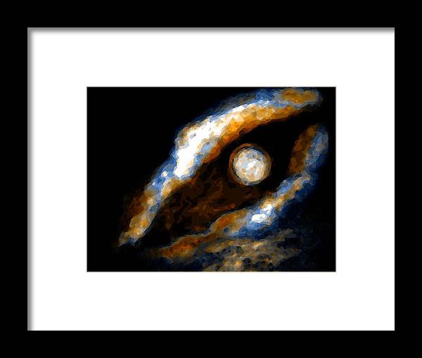 Spacescape Framed Print featuring the mixed media Golden moon by Joseph Ferguson
