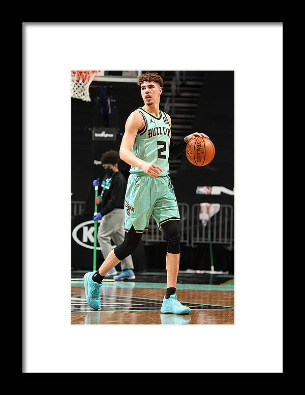 Nba Pro Basketball Framed Print featuring the photograph Golden State Warriors v Charlotte Hornets by Kent Smith
