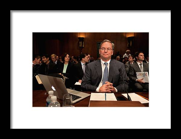Strategy Framed Print featuring the photograph Google CEO Testifies At Senate Hearing On Antitrust Policy by Chip Somodevilla