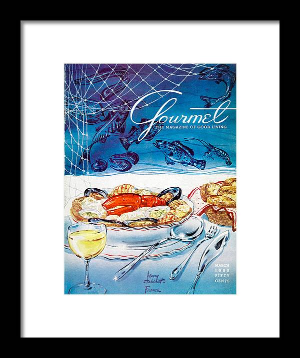 Food Framed Print featuring the painting Gourmet Magazine March 1955 by Henry Stahlhut