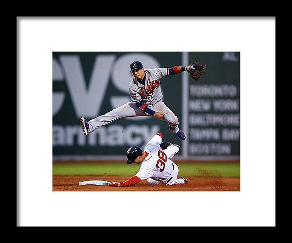 Double Play Framed Print featuring the photograph Grady Sizemore And Ramiro Pena by Jared Wickerham