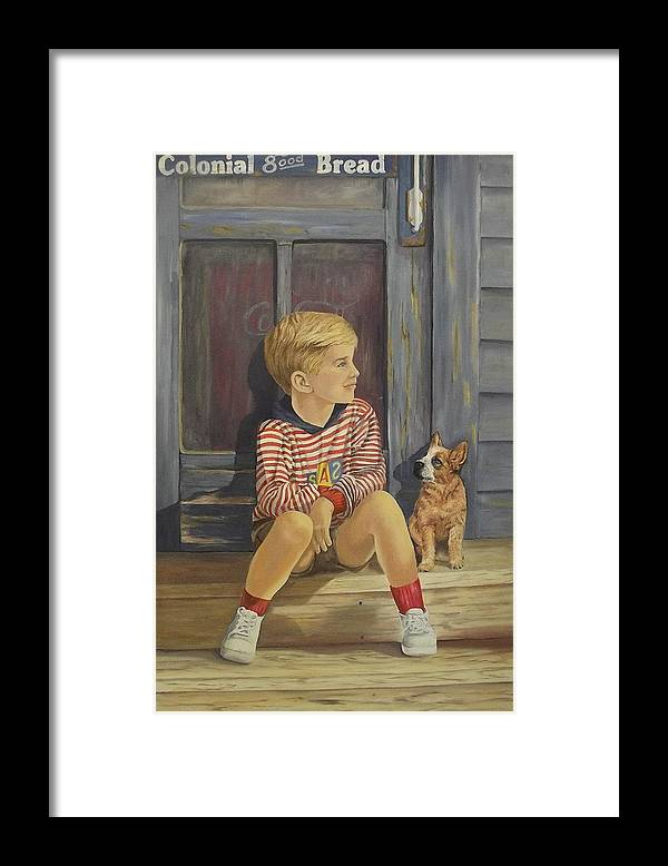A Young Boy And His Dog Framed Print featuring the painting Grandpas Country Store by Wanda Dansereau