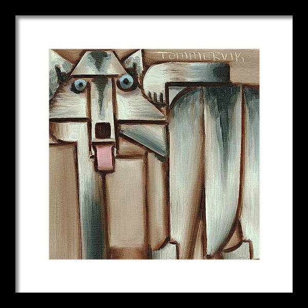 Wolf Framed Print featuring the painting Gray Wolf With Tongue Hanging Out Art Print by Tommervik