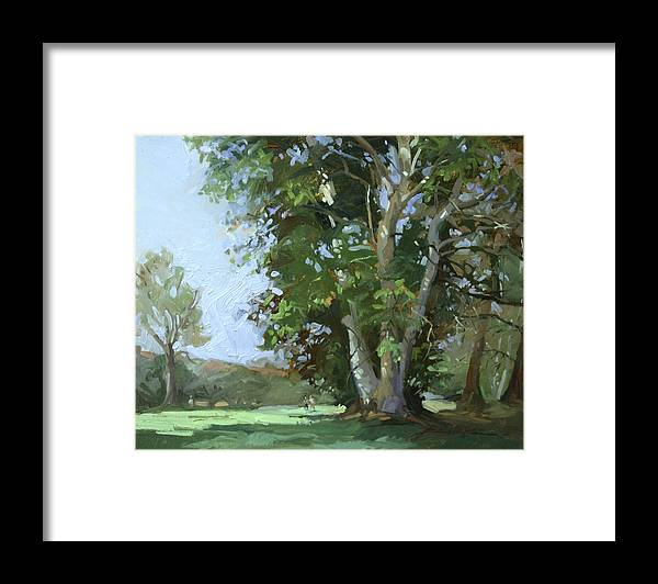 Golf Courses Framed Print featuring the painting Guardian of the Green by Betty Jean Billups