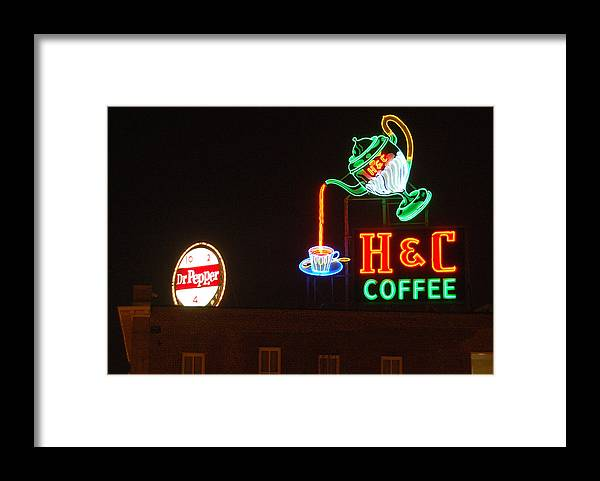 H C Coffee Framed Print featuring the photograph H and C Coffee Sign Roanoke Virginia by Suzanne Gaff