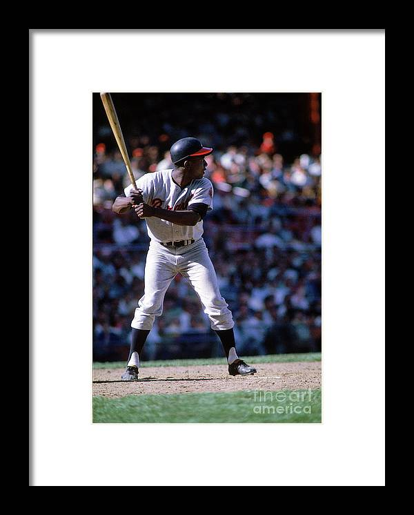 Home Base Framed Print featuring the photograph Hank Aaron by Mlb Photos
