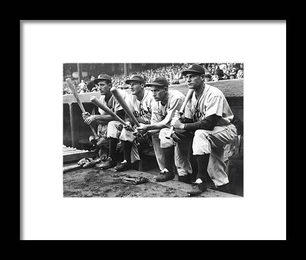 People Framed Print featuring the photograph Hank Greenberg and Goose Goslin by Fpg