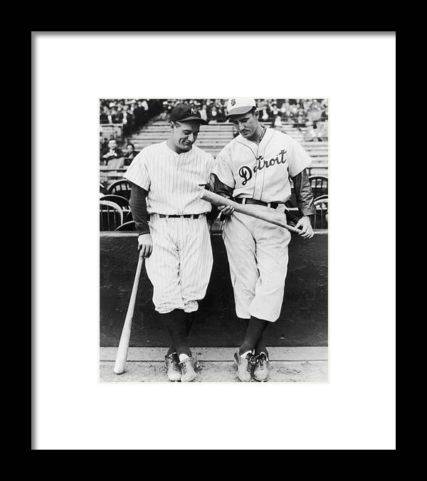 Baseball Cap Framed Print featuring the photograph Hank Greenberg and Lou Gehrig by Fpg