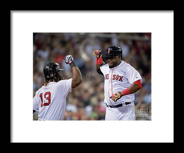 People Framed Print featuring the photograph Hanley Ramirez and David Ortiz by Michael Ivins/boston Red Sox