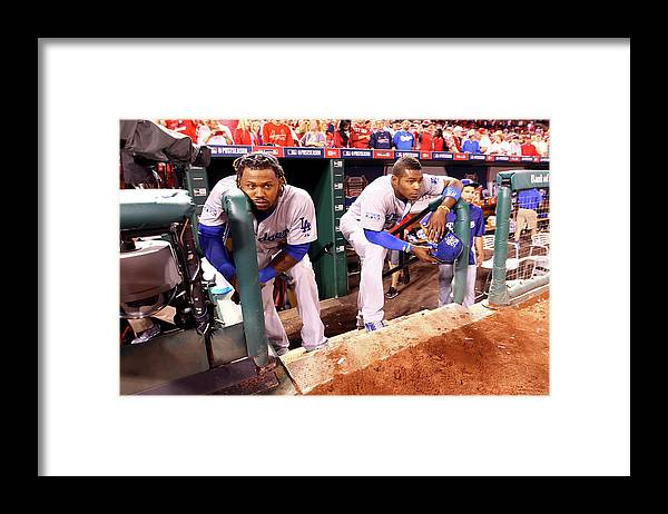 American League Baseball Framed Print featuring the photograph Hanley Ramirez and Yasiel Puig by Jamie Squire