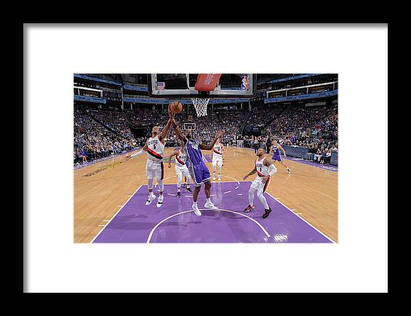 Nba Pro Basketball Framed Print featuring the photograph Harrison Barnes and Rodney Hood by Rocky Widner
