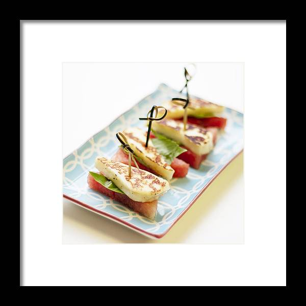 Cheese Framed Print featuring the photograph Healthy Eating - Watermelon With Halloumi Cheese by Gregoria Gregoriou Crowe fine art and creative photography.