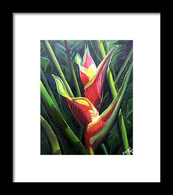 Tropical Floral Flower Heliconia Caribbean Painting Tropical Painting Botanical Painting Framed Print featuring the painting Heliconia by Karin Dawn Kelshall- Best