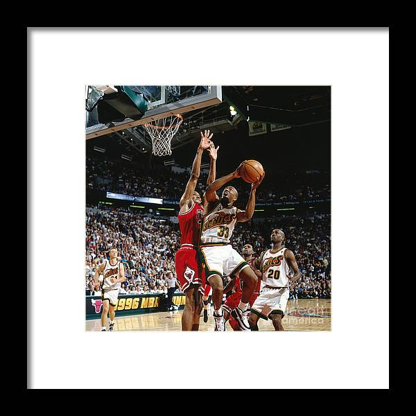 Nba Pro Basketball Framed Print featuring the photograph Hersey Hawkins and Scottie Pippen by Nathaniel S. Butler