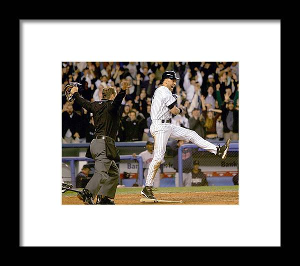 Game Two Framed Print featuring the photograph Hideki Matsui and Derek Jeter by Ezra Shaw