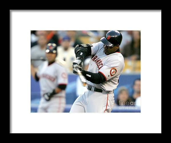 California Framed Print featuring the photograph Hideo Nomo and Barry Bonds by Jon Soohoo