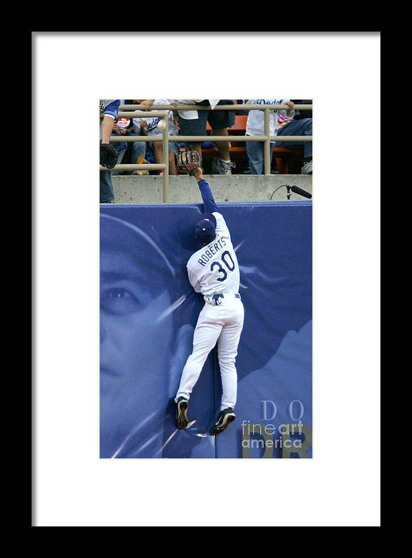 California Framed Print featuring the photograph Hideo Nomo, Dave Roberts, and Barry Bonds by Jon Soohoo