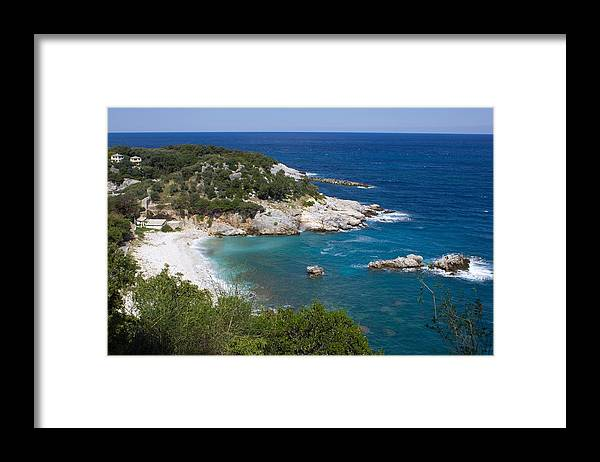 Tranquility Framed Print featuring the photograph High Angle View Of Sea Against Clear Sky by Nicole Stutterheim / EyeEm