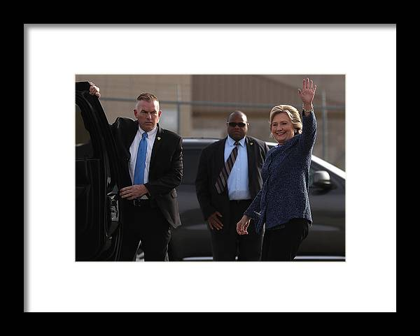 Nominee Framed Print featuring the photograph Hillary Clinton Holds Early Voting Rallies In Iowa by Justin Sullivan