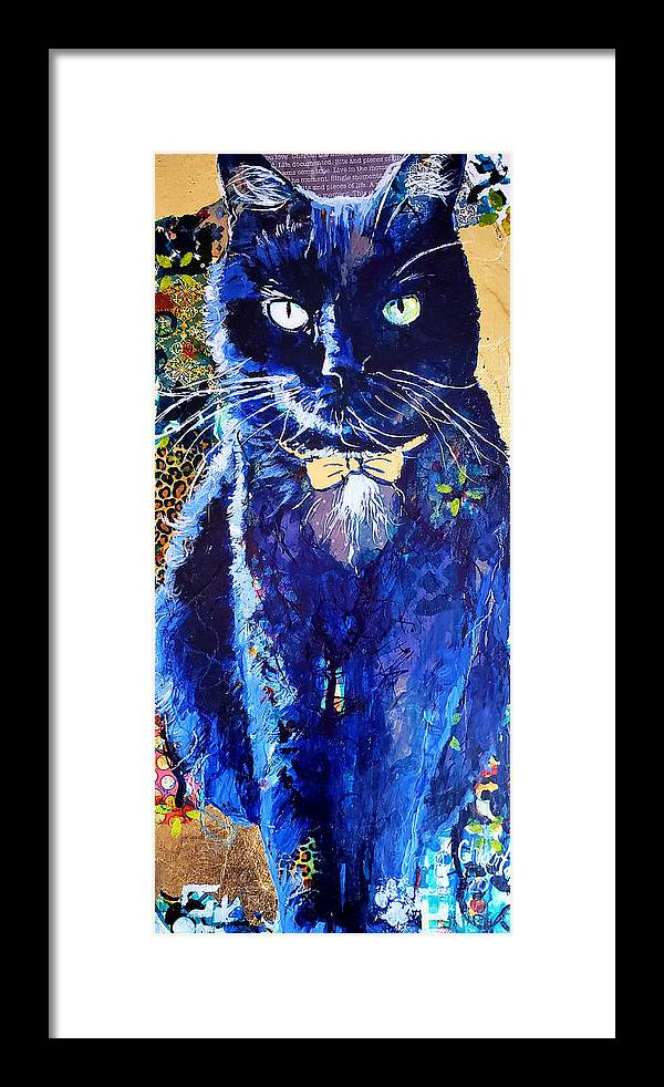 Cat Framed Print featuring the painting His Majesty by Goddess Rockstar