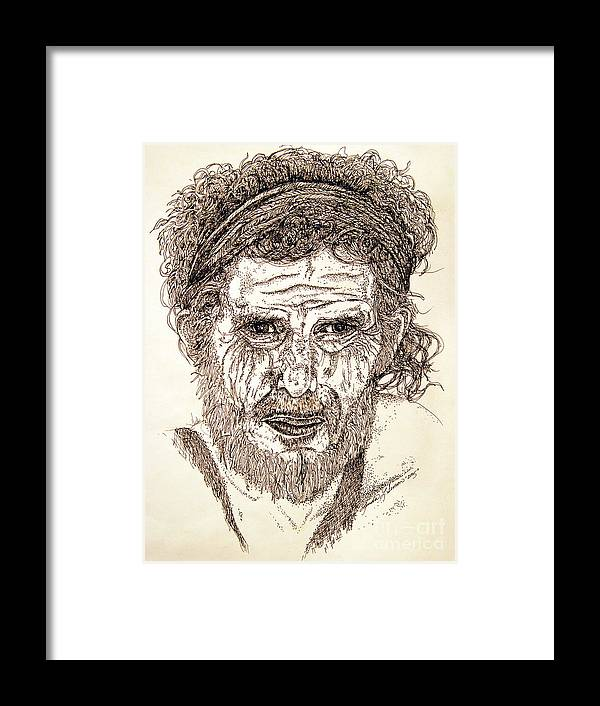 Man Framed Print featuring the drawing Hobo by Linda Simon