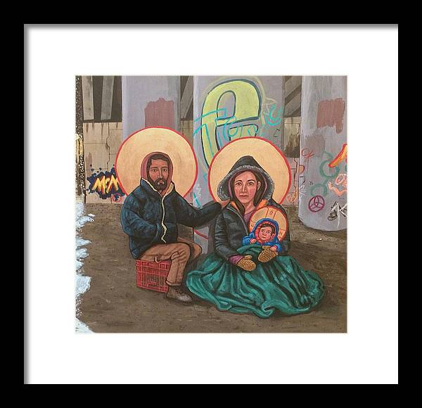 Framed Print featuring the painting Holy Family of the Streets by Kelly Latimore