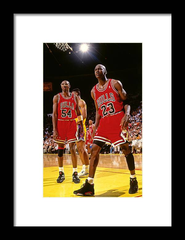 Chicago Bulls Framed Print featuring the photograph Horace Grant and Michael Jordan by Andrew D. Bernstein