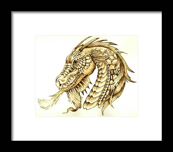 Dragon Framed Print featuring the pyrography Horned Dragon by Danette Smith