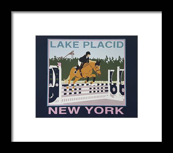Horse Jumping Horse Jump Lake Placid New York Ny Horses Show Showgrounds Ski Jumps Framed Print featuring the painting Lake Placid Horse Show by Joanne Orce