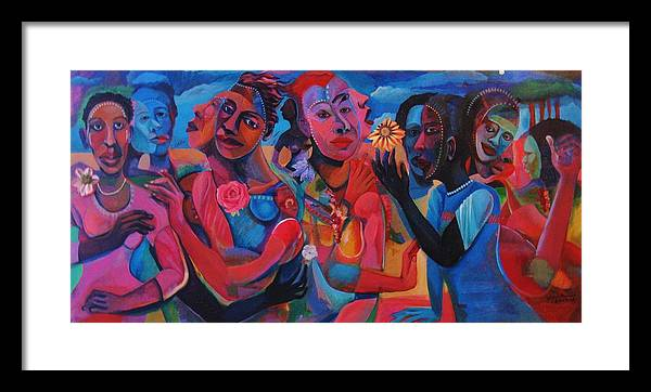 Figures Framed Print featuring the painting Hot and Cool by Joyce Owens