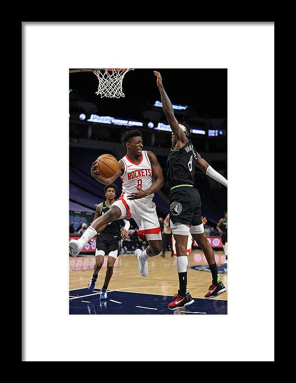 Nba Pro Basketball Framed Print featuring the photograph Houston Rockets v Minnesota Timberwolves by Jordan Johnson