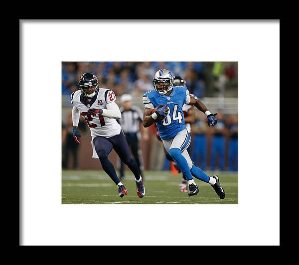 Houston Texans Framed Print featuring the photograph Houston Texans v Detroit Lions by Gregory Shamus