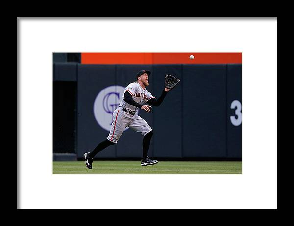 People Framed Print featuring the photograph Hunter Pence and Nolan Arenado by Doug Pensinger