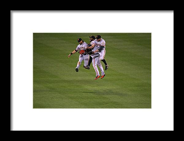 People Framed Print featuring the photograph Hunter Pence, Denard Span, and Angel Pagan by Doug Pensinger