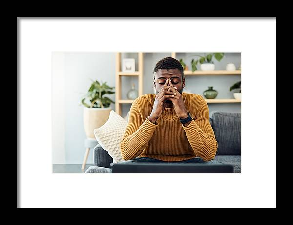 Young Men Framed Print featuring the photograph I need to find a way to cope with this stress by Nicola Katie