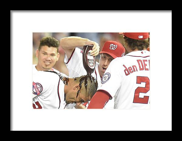 People Framed Print featuring the photograph Ian Desmond, Max Scherzer, And Bryce Harper by Mitchell Layton