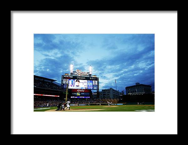 American League Baseball Framed Print featuring the photograph Ian Kinsler And Andrew Miller by Gregory Shamus