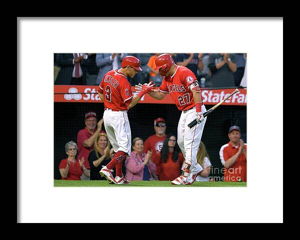 People Framed Print featuring the photograph Ian Kinsler and Mike Trout by John Mccoy